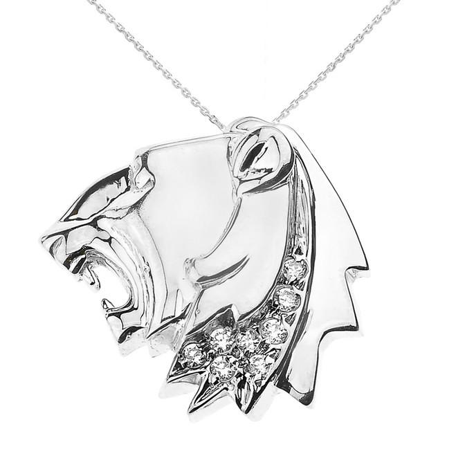 White Gold Roaring Lion Head CZ Pendant Necklace