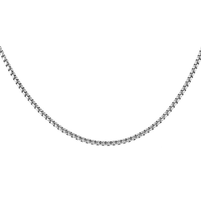Sterling Silver Italian Round Box Link Chain 2.4 mm