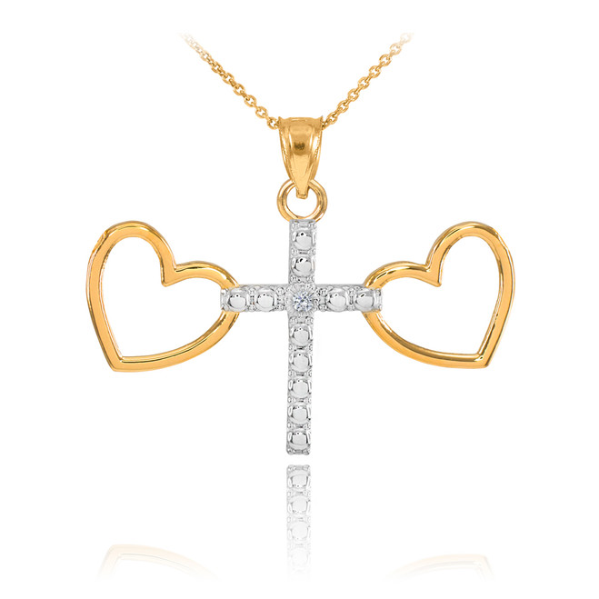 14K Two Tone Gold Heart Cross Diamond Charm Necklace