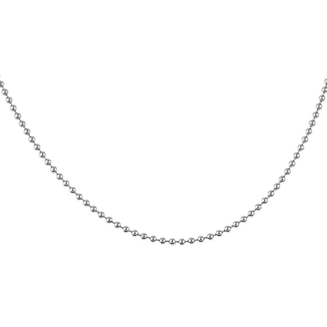 Sterling Silver 34 Inch Italian Round Bead Link Chain 2.2 mm