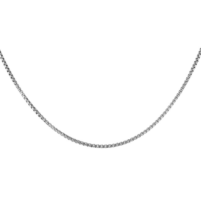 Sterling Silver Italian Round Box Link Chain 1.8 mm