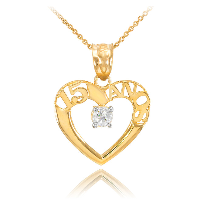 14K Gold 15 Años Heart CZ Pendant Necklace