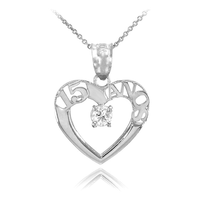 14K White Gold 15 Años Heart CZ Pendant Necklace