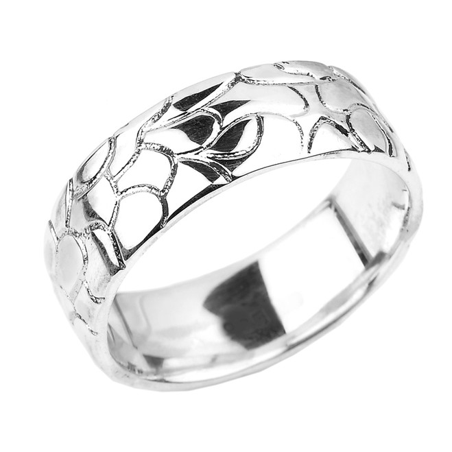 Sterling Silver Nugget Wedding Band - 7 MM