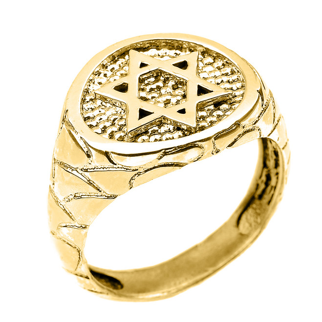Yellow Gold Star of David Men's Ring