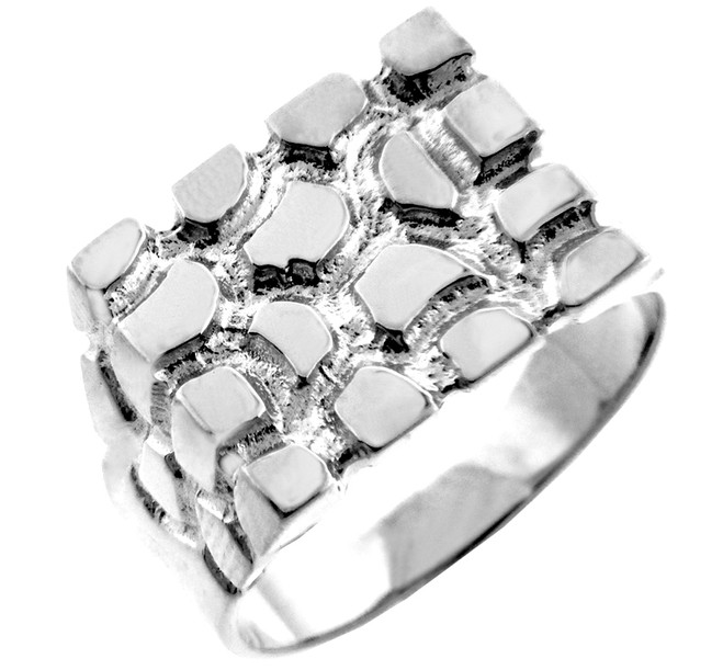 Sterling Silver Men's Armour Nugget Ring