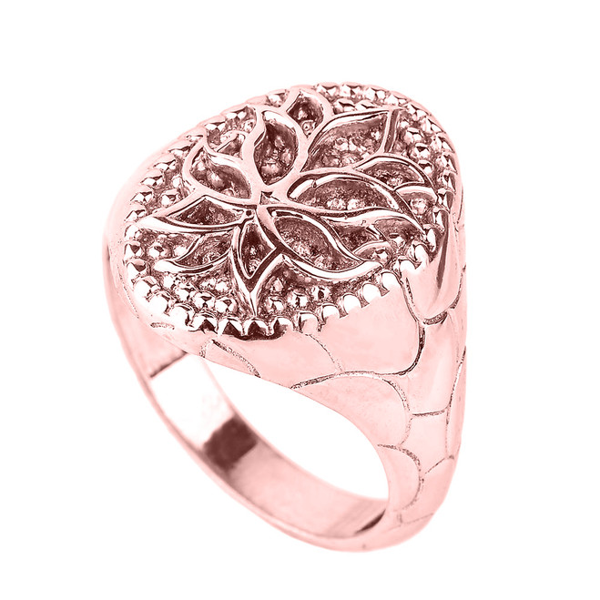 Rose Gold Lotus Blossom Flower Men's Ring