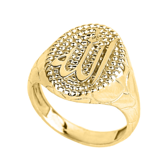 Solid Yellow Gold Allah Men's Oval Ring