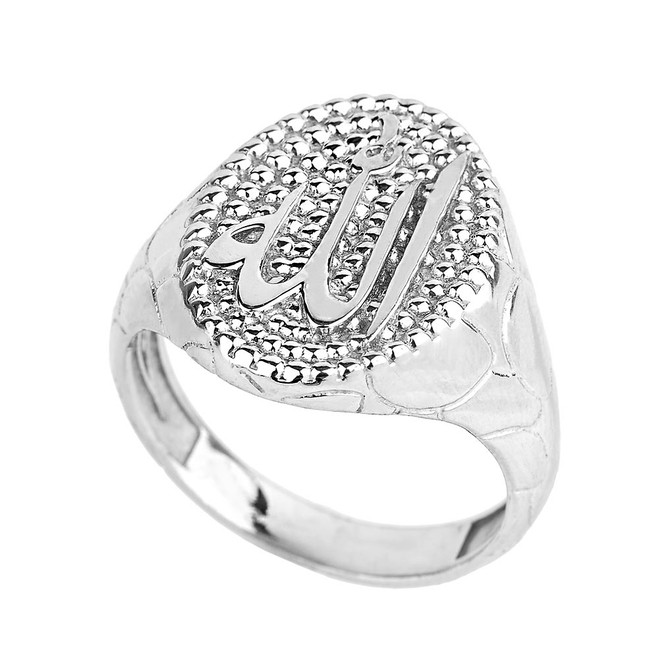 Solid White Gold Allah Men's Oval Ring