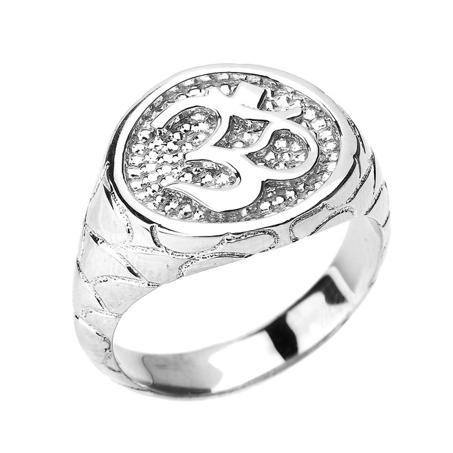 Sterling Silver Textured Band Om/Ohm Men's Ring