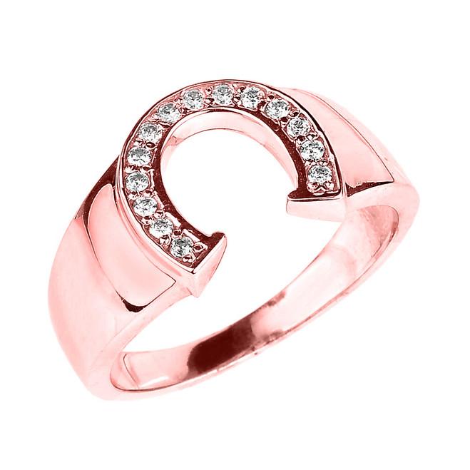 Rose Gold Diamond Horseshoe Men's Ring