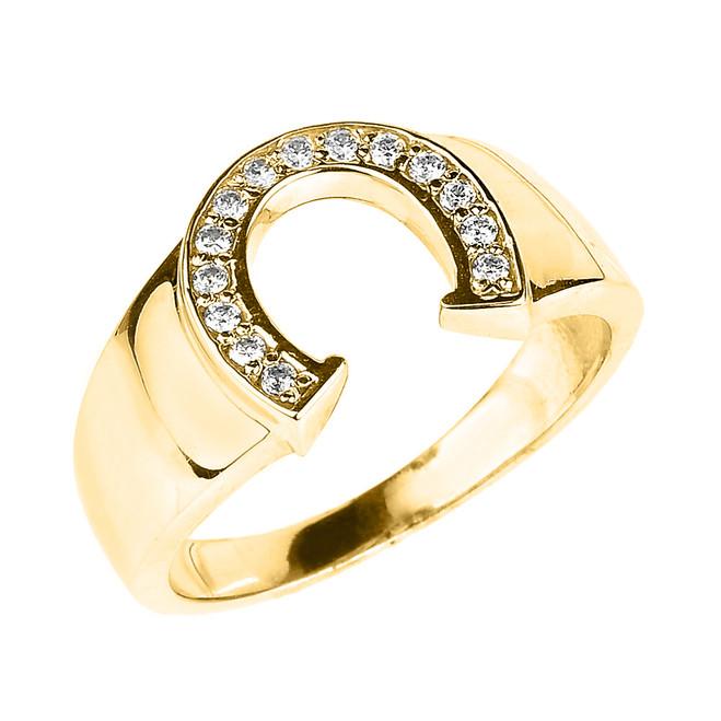 Yellow Gold Cubic Zirconia Horseshoe Men's Ring