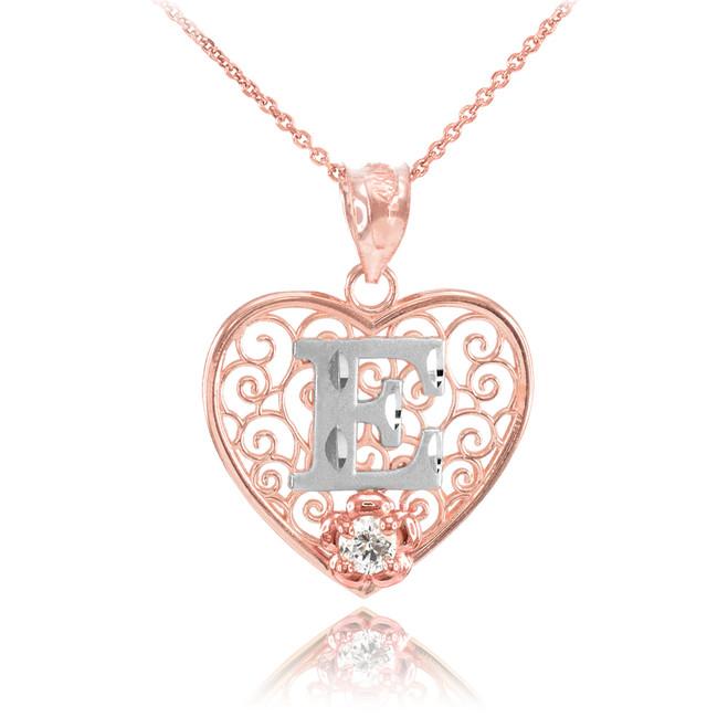 "Two Tone Rose Gold Filigree Heart ""E"" Initial CZ Pendant Necklace"