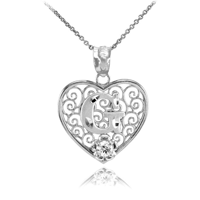"Silver Filigree Heart ""G"" Initial CZ Pendant Necklace"