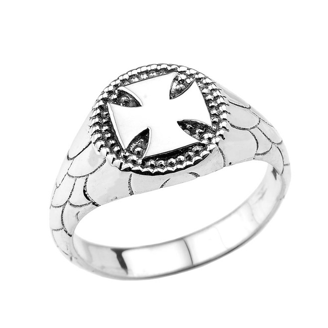 Sterling Silver Iron Cross Unisex Ring