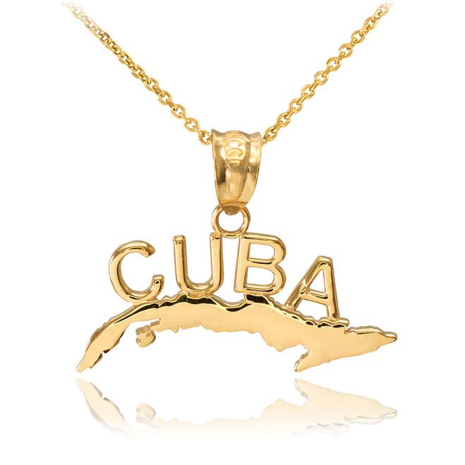 Yellow Gold CUBA  Pendant Necklace