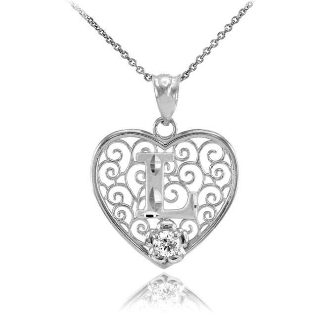 "Silver Filigree Heart ""L"" Initial CZ Pendant Necklace"