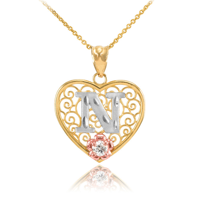 """Two Tone Yellow Gold Filigree Heart """"N"""" Initial CZ Pendant Necklace"""