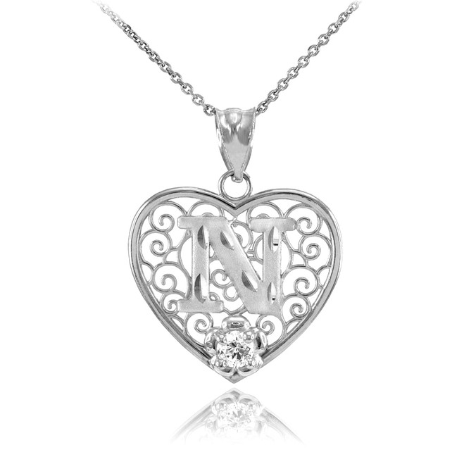 """Silver Filigree Heart """"N"""" Initial CZ Pendant Necklace"""