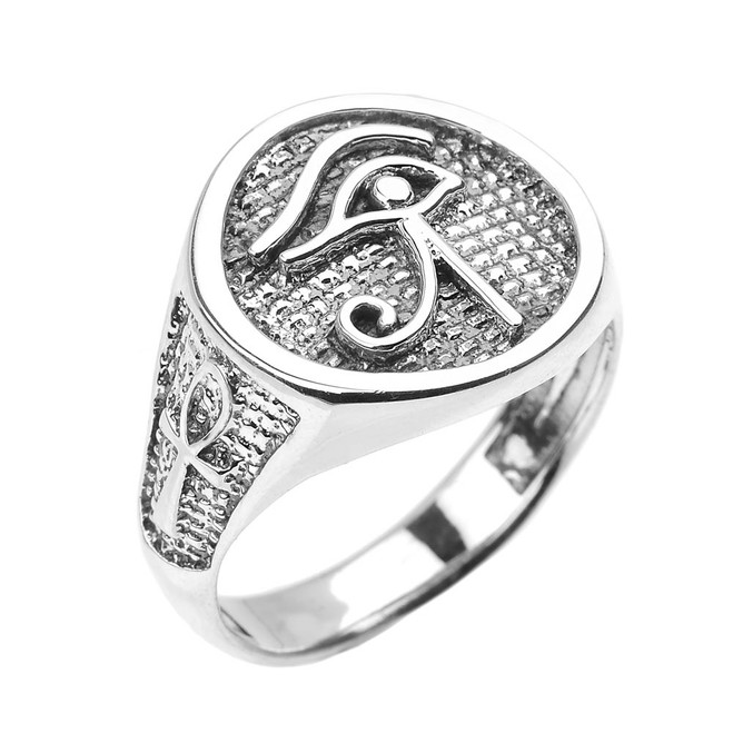 Sterling Silver Eye of Horus with Egyptian Ankh Crosses Men's Ring