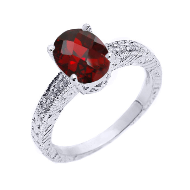 Sterling Silver Art Deco Garnet and White Topaz Birthstone Ring