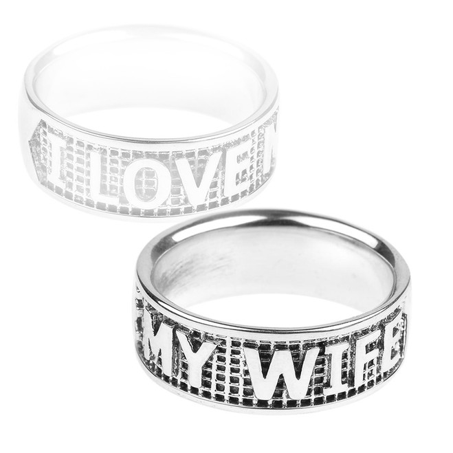"""Sterling Silver """"I LOVE MY WIFE"""" Statement Band Ring"""