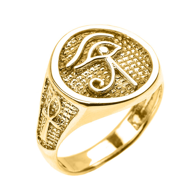 Yellow Gold Eye of Horus with Egyptian Ankh Crosses Men's Ring