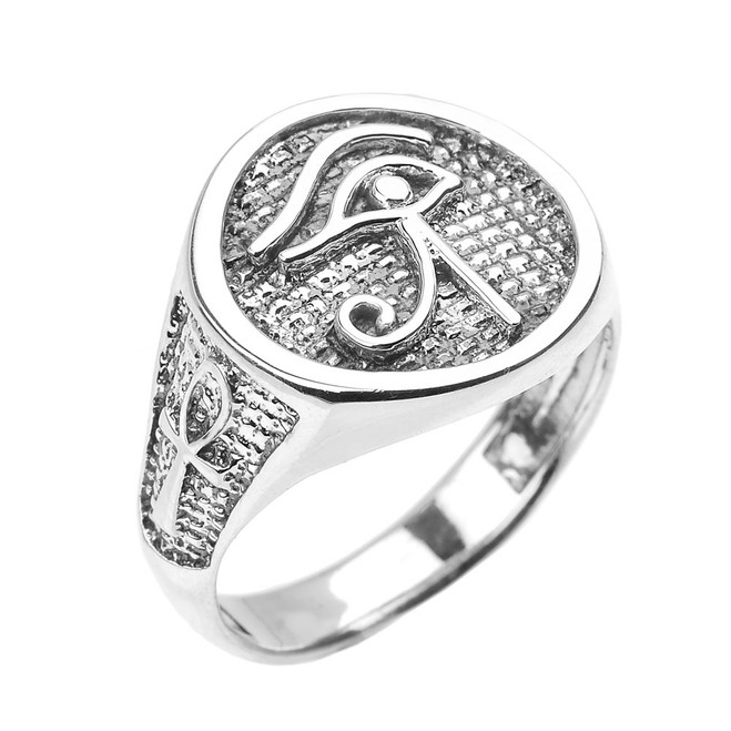 White Gold Eye of Horus with Egyptian Ankh Crosses Men's Ring