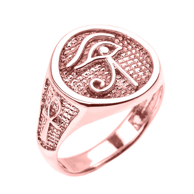 Rose Gold Eye of Horus with Egyptian Ankh Crosses Men's Ring