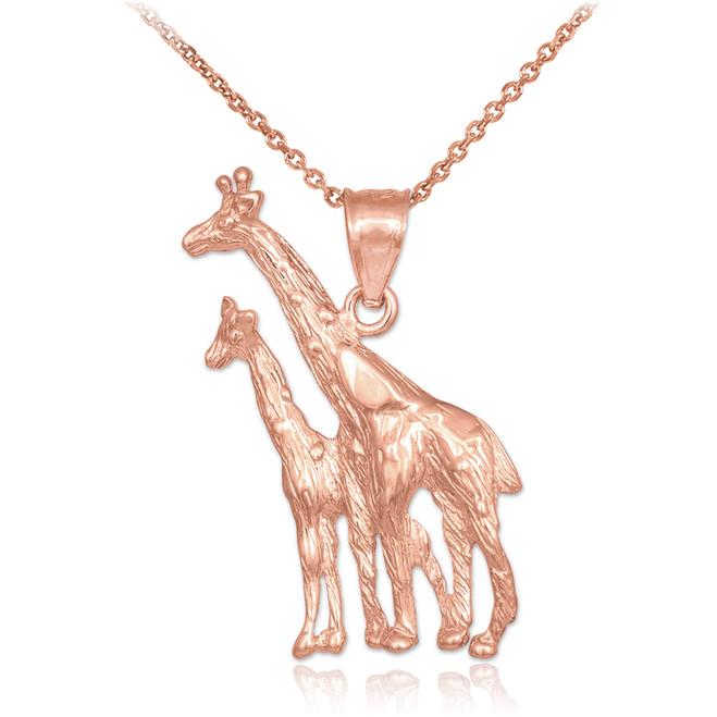 Rose Gold Giraffe Pendant Necklace