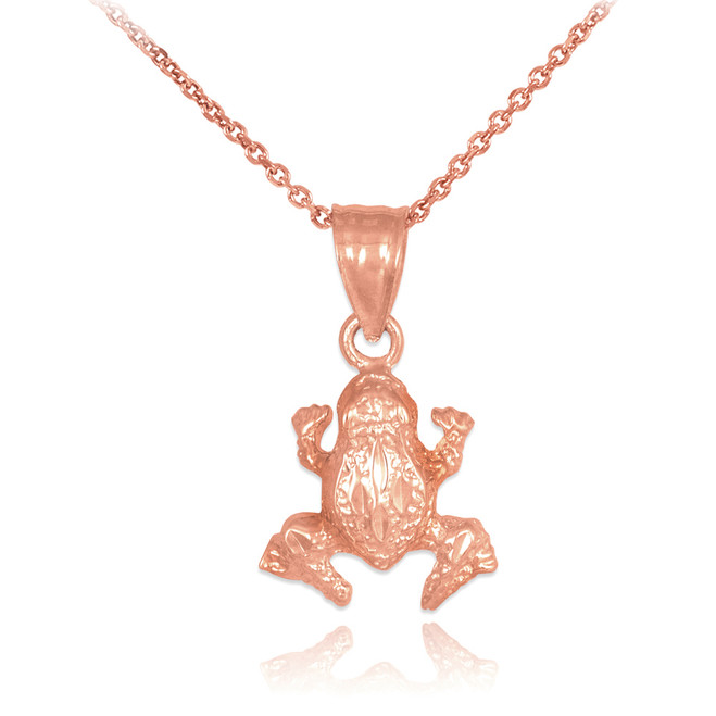 Textured Rose Gold Frog Charm Pendant Necklace