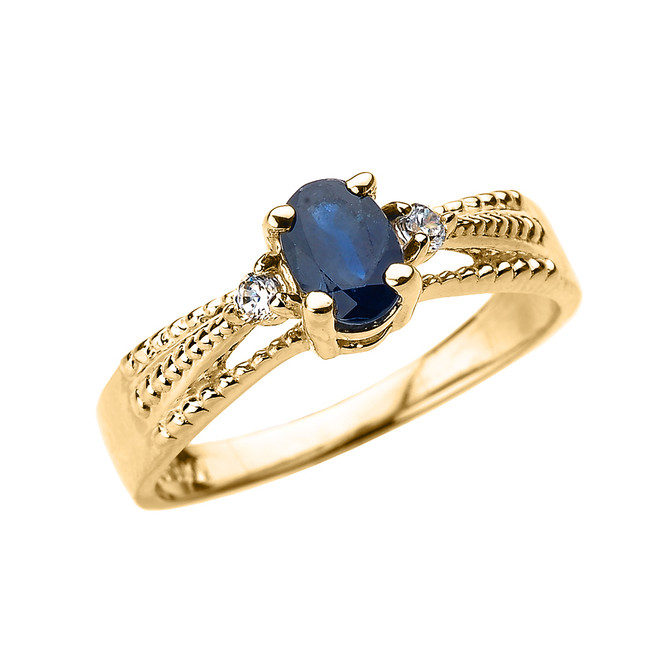 Elegant Yellow Gold Diamond and Blue Sapphire Proposal Engagement Ring