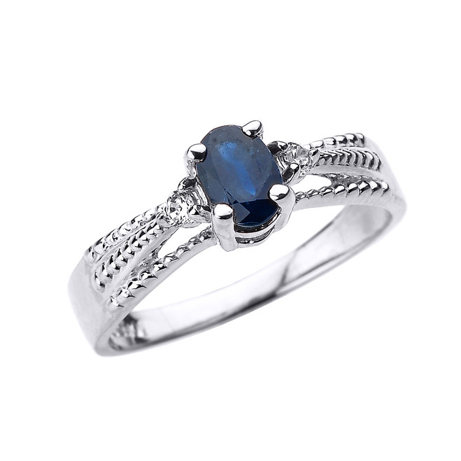 Elegant White Gold Diamond and Blue Sapphire Proposal Engagement Ring