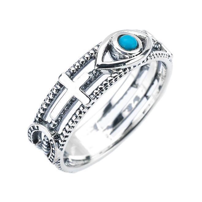 White Gold Milgrain Sideways Cross Turquoise Evil Eye Good Luck Ring