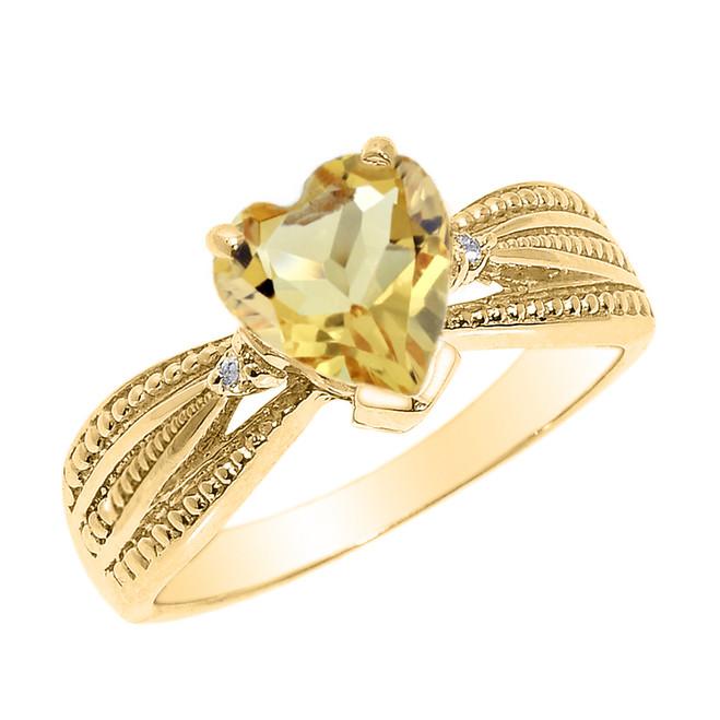 Beautiful Yellow Gold Citrine and Diamond Proposal Ring
