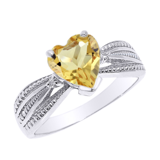 Beautiful White Gold Citrine and Diamond Proposal Ring