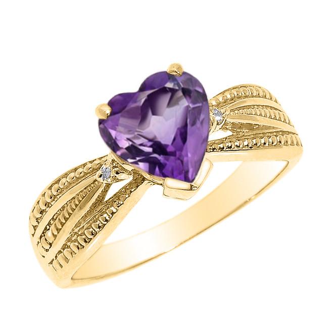 Beautiful Yellow Gold Amethyst and Diamond Proposal Ring