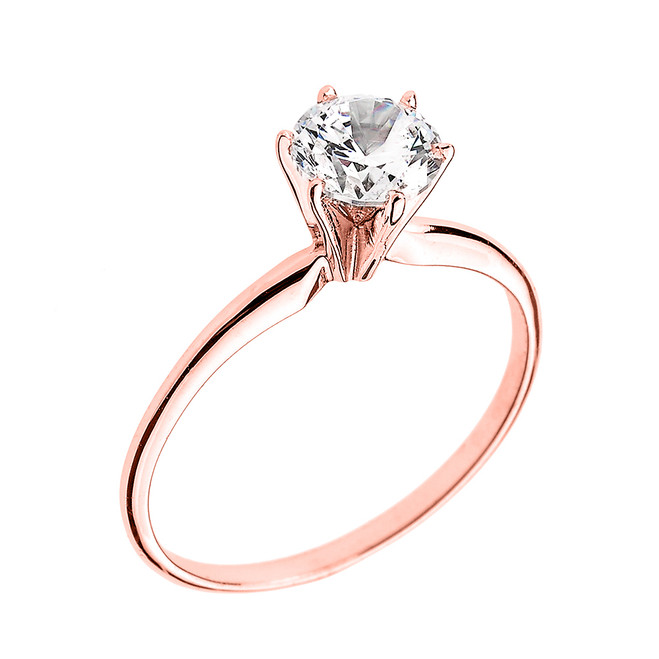 Rose Gold 1.50 ct Cubic Zirconia Dainty Solitaire Engagement Ring