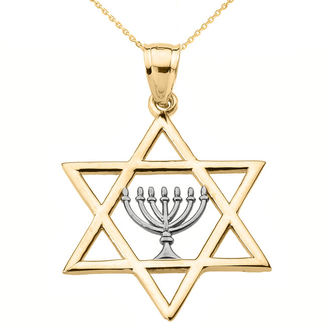 Yellow Gold Star of David with Menorah Pendant Necklace