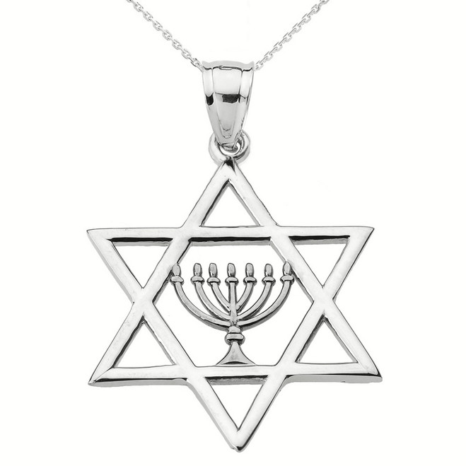 Sterling Silver Star of David with Menorah Pendant Necklace