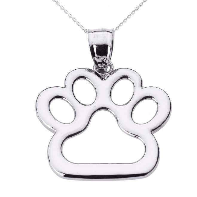 Sterling Silver Dog Paw Print Pendant Necklace