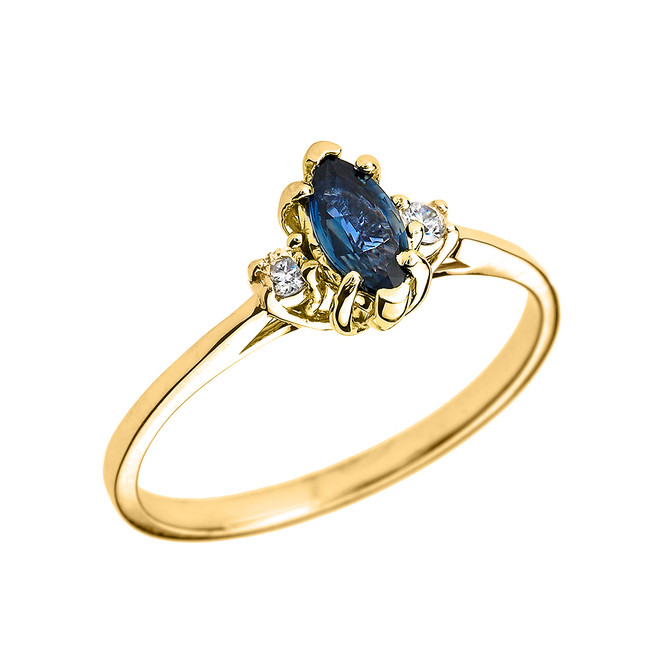Beautiful Yellow Gold Diamond and Sapphire Proposal and Birthstone Ring
