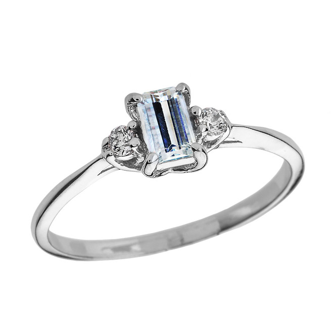 White Gold Diamond and Aquamarine Proposal and Birthstone Ring