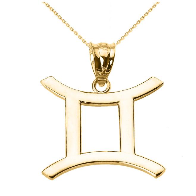 Yellow Gold Gemini June Zodiac Sign Pendant Necklace