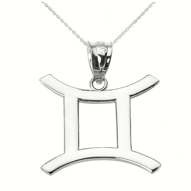 White Gold Gemini June Zodiac Sign Pendant Necklace