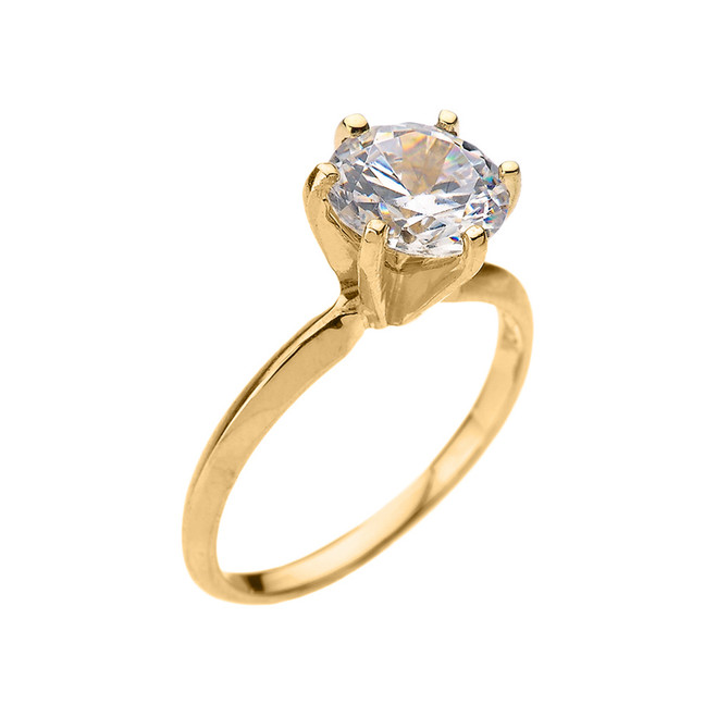 Yellow Gold 3.0 ct Cubic Zirconia Solitaire Engagement Ring
