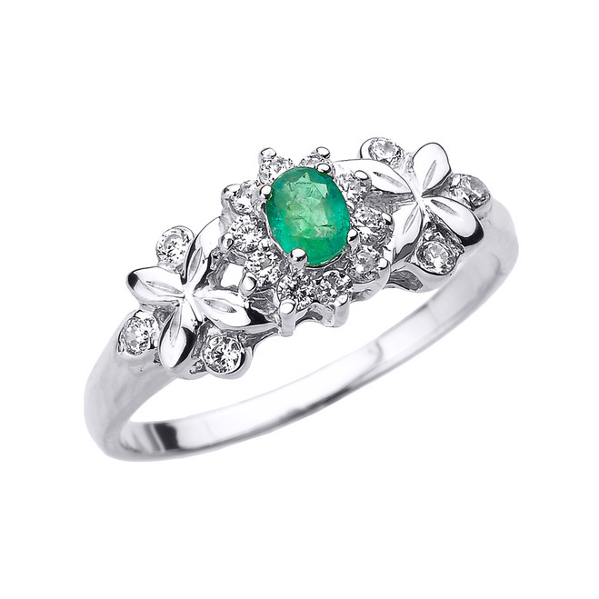 White Gold Emerald and Diamond Engagement Ring