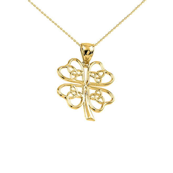 Yellow Gold Celtic Trinity Knot Clover Pendant Necklace