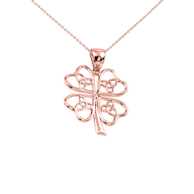 Rose Gold Celtic Trinity Knot Clover Pendant Necklace