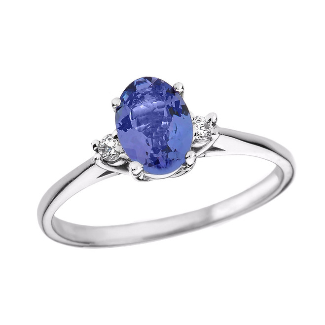 White Gold Oval Tanzanite and Diamond Engagement Proposal Ring